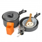 HALIN HK320 Outdoor Camping Cooking Utensils + Pan Stockpots + Mini Stove Burner Set - Grey Black