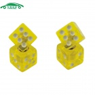 CARKING CS157 Car Vehicle Cube Shape Dice Style Tire Valve Caps - Yellow (4 PCS)