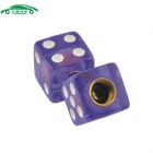 CARKING CS153 Car Cube Dice Style Tire Valve Caps - Purple (4PCS)