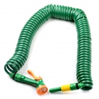 Retractable Spring Car Washing / Garden Coiled Hose Spray Gun Gardening Tools Set - Dark Green (15M)