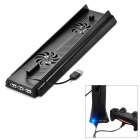 3-Port USB Hub Charging Dock Stand Holder w/ Cooling Fans for PS4 Console - Black