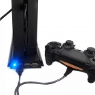 3-Port USB Hub Charging Dock w/ Cooling Fan for PS4 Console - Black