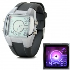 Glow-in-the-Dark Silicone Band Quartz Analog Watch - Grey (1*CR2025)