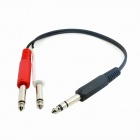 CY RC-129 6.35mm Audio Stereo Plug to 2 x 6.35mm Mono Plugs Splitter Cable - Black (20cm)