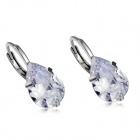 Fashionable Water Drop Shaped Zircon + Alloy Earrings - Silver (Pair)