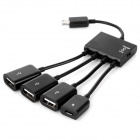 Micro USB to OTG HUB + 1M Micro 5-Pin Male to USB Male Cable - Black
