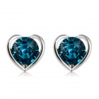 Women's Stylish Heart-shaped Crystal Inlaid Earrings - Blue + Silver (Pair)