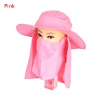 Unisex 360' Sun-Blocking Removable Adjustable Outdoor Hiking Fishing Hat Cap - Pink