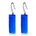 Rectangle Crystal Earrings - Blue + Silver