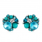 Women's Elegant Imitation Turquoise & Crystal Inlaid Alloy Ear Studs Earrings - Blue (Pair)