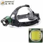 ZHISHUNJIA K12T6 900lm 3-Mode White Light Zooming Headlamp Headlight - Black + Green (2 x 18650)