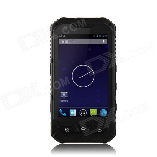 A8 Android 4.2 Dual Core 3G Rugged Phone w/ 4.0″, 5MP, 4GB ROM, Wi-Fi, GPS, Bluetooth, FM – Black
