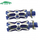 CARKING Universal Aluminum Alloy Motorcycle Rear Back Pedals - Blue + Silver (2 PCS)