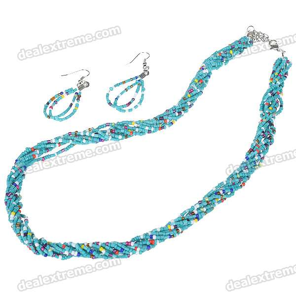 Fancy Bohemia Multigem Beads Necklace & Earrings Set (Turquoise) starfish necklace and earrings set
