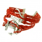 Unisex Fashionable Anchor & LOVE Style PU + Alloy Hand-Woven Bracelet - Silver + Red