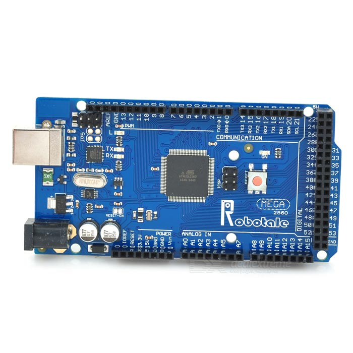 Robotale Mega 2560 R3 Development Board w/ Arduino Mega 2560 R3Boards &amp; Shields<br>Form ColorBlueModelMage 2560Quantity1 DX.PCM.Model.AttributeModel.UnitMaterialFR4ChipsetATmega2560Hardware PlatformArduinoEnglish Manual / SpecNoDownload Link   http://arduino.cc/en/Main/SoftwareOther FeaturesMicrocontroller ATmega2560; Operating Voltage 5V; External power: 7~12V (recommended 9V); Digital I/O Pins 54 (of which 15 provide PWM output; Analog Input Pins: 16; DC Current per I/O Pin 40 mA DC Current for 3.3V Pin 50 mA; Flash Memory 256KB of which 8 KB used by bootloader; SRAM: 8KB; EEPROM: 4 KB; Clock Speed 16MHzPacking List1 x Module1 x USB cable (52cm) 1 x 40-pin header<br>