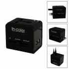 IN-Farben 5-in-1 Universal Travel Adapter mit USB / US / EU / UK / AU - Schwarz