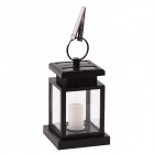 0.06W 3200K Solar Powered Waterproof Warm White 2-LED Outdoor Camping Hanging Lantern  Lamp - Black