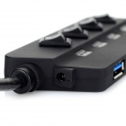 Knife Type High Speed 1 to 4 USB 3.0 HUB w/ Control Switch - Black