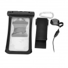 Waterproof Case Pouch w/ Armband, Carabiner for IPHONE 6 PLUS - Black