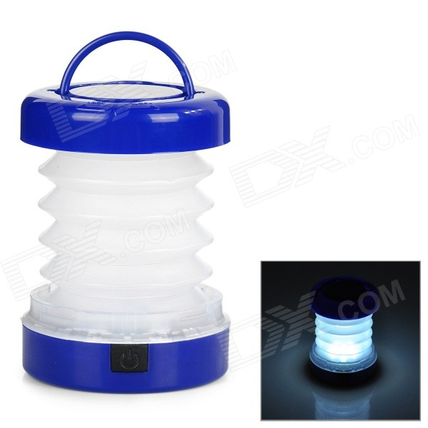 5-LED 8lm 2-Mode White Light Outdoor Lantern - White + Blue (3 * AAA)