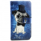 Dog Pattern PU Leather Flip Open Case w/ Stand for Samsung Galaxy S6/G920 - Blue + Black