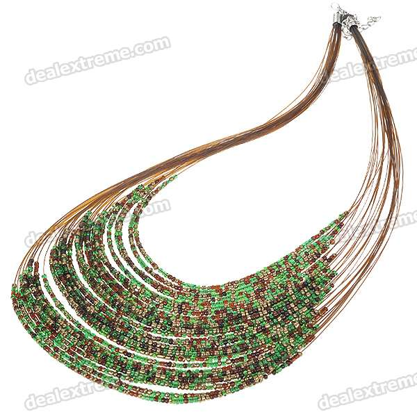 Fancy Multi-color Beads Statement Necklace Bohemia Jewelry (Peacock)