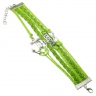 Anchor & LOVE Style PU + Alloy Hand-Woven Bracelet - Silver + Green