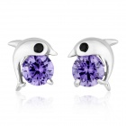 eQute Fashion Women's Dolphin Style S925 Sterling Silver + Zircon Stud Earrings - Purple (Pair)