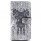 Elephant Pattern Flip-Open PU + TPU Case w/ Holder + Card Slot for Samsung Galaxy S6 / G920