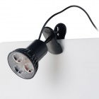 USB Clip-on 1W 3-LED 30lm 6000K White Light Rotary Lamp - Black