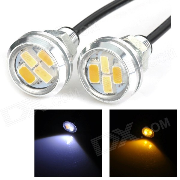 2W 23mm Eagle Eyes 50lm 4-SMD 5630 White Car Lamp (12V / 2PCS)