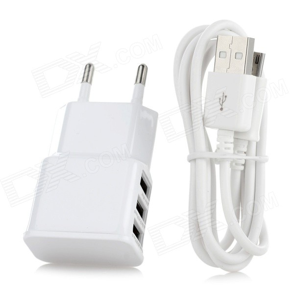 EU Plug USB 2.0 3-Port Charging Adapter + Micro USB Cable - White