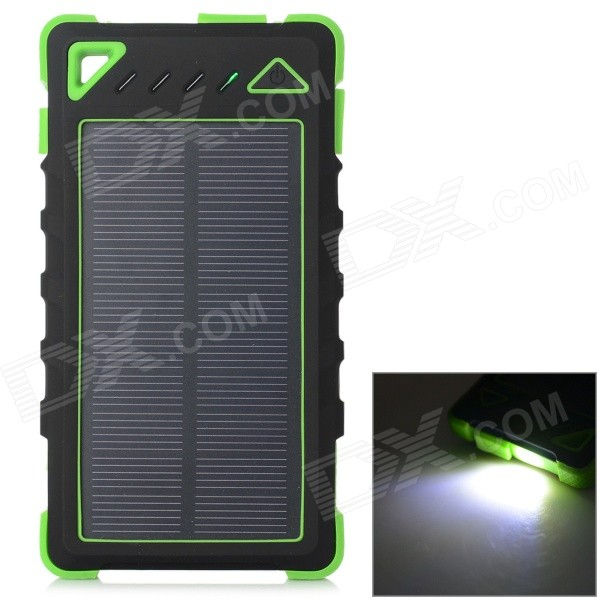 S-What 7500mAh Battery Dual USB Solar Power Bank - Green + Black