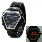 WEIDE WH-1102 Triangle Stainless Steel Quartz + Digital Analog LED Wrist Watch - Black (1 x 626)