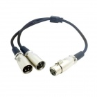 CY RC-130 3-Pin XLR Female To Dual XLR Male Audio Splitter Microphone Cable - Black (50cm)