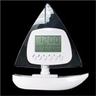 Sail Boat LCD Clock with Digital Thermostat (White)