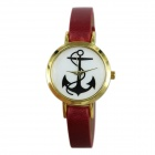 Women's Anchor Pattern Dial  PU Band Quartz Wrist Watch - Red (1 x 377)