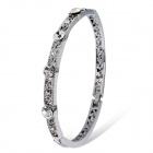 Xinguang Stylish Flowers Pattern White Crystal Inlaid Bracelet - Silver