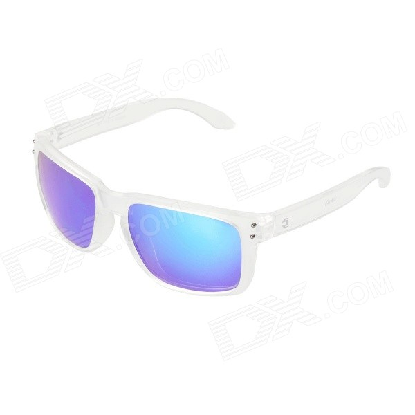 WG009 UV400 TR90 Frame Polarized Sunglasses - Transparent + Blue REVO