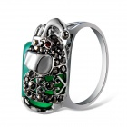 Women's Trendy Lucky Elephant Aventurine Grey Crystal Inlaid Ring - Silver (US Size 8)