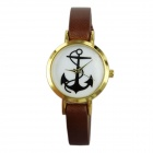 Women's Anchor Pattern Dial PU Band Quartz Wrist Watch - Coffee (1 x 377)