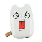 Totoro Style 6000mAh Dual USB Port Portable Power Bank w/ Switch + Indicator - White