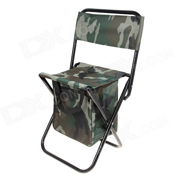 folding back rest chair with storage bag for fishing camouflage