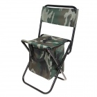 Outdoor Folding Oxford Fabric Back-Rest Chair Stool with Storage Bag for Fishing - Camouflage Green