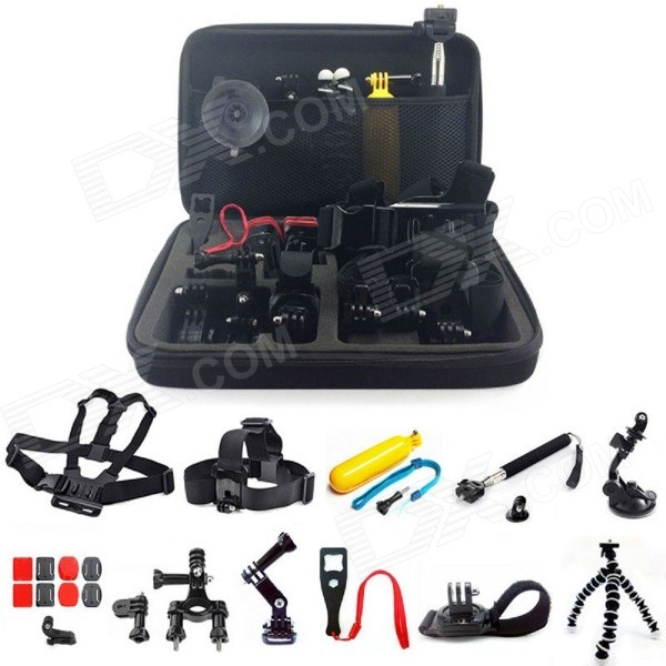 24 in1 Floating Head Chest Mount Accessories for GoPro, SJ4000Other GoPro Accessories<br>Form ColorBlackModelGP58Quantity1 DX.PCM.Model.AttributeModel.UnitMaterialPlasticShade Of ColorBlackPacking List1 x Spanner1 x Big Carry Case1 x Head Strap Mount1 x Buckle Basic Mount1 x Floating Grip+Screw1 x J-Hook Buckle Mount1 x Flat Surface Adhesive1 x Chest Belt Strap Mount1 x 360° Rotating Wrist Strap2 x Curved Surface Adhesive1 x Flexible Octopus Stand Tripod2 x Curved Mount2 x Two Flat Mount1 x 3-way Adjustment Base+Screw1 x Handle Monopod + Tripod Mount1 x Auto Suction Cup + Tripod Mount1 x Handlebar Seatpost + Pivot Arm<br>