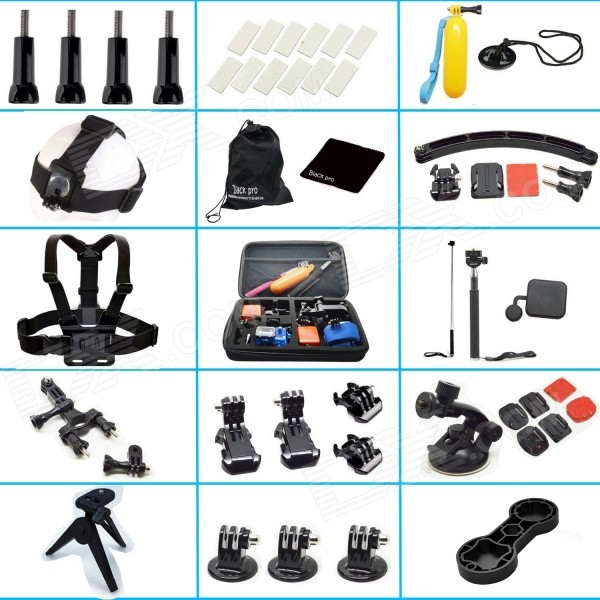 45-in-1 Outdoor Sports Accessories Kit for All Gopro Hero - Black