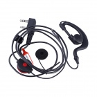 Baiston Professional Ear-Hook Earphone with PTT for Walkie Talkie - Black + Red