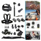 Headband + Chest Belt + Monopod Accessories Kit for Sony Cameras / Gopro Hero 4 / 3+ / 3 - Black