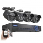ANNKE 4CH 720P AHD-M Hybrid DVR System w/ 4 Outdoor 720P 1.0 MP AHD Security Cameras(US Plug,No HDD)
